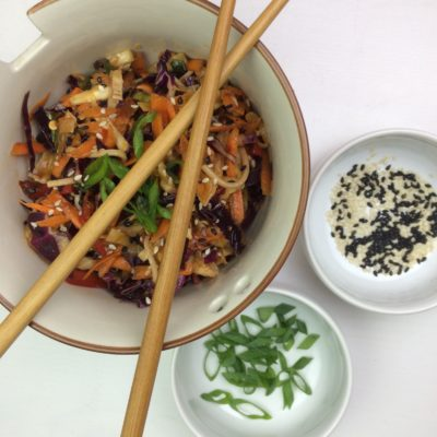 Lo Mein Salad with Cabbage, Red Pepper, Carrots & Spicy Lemon Dressing