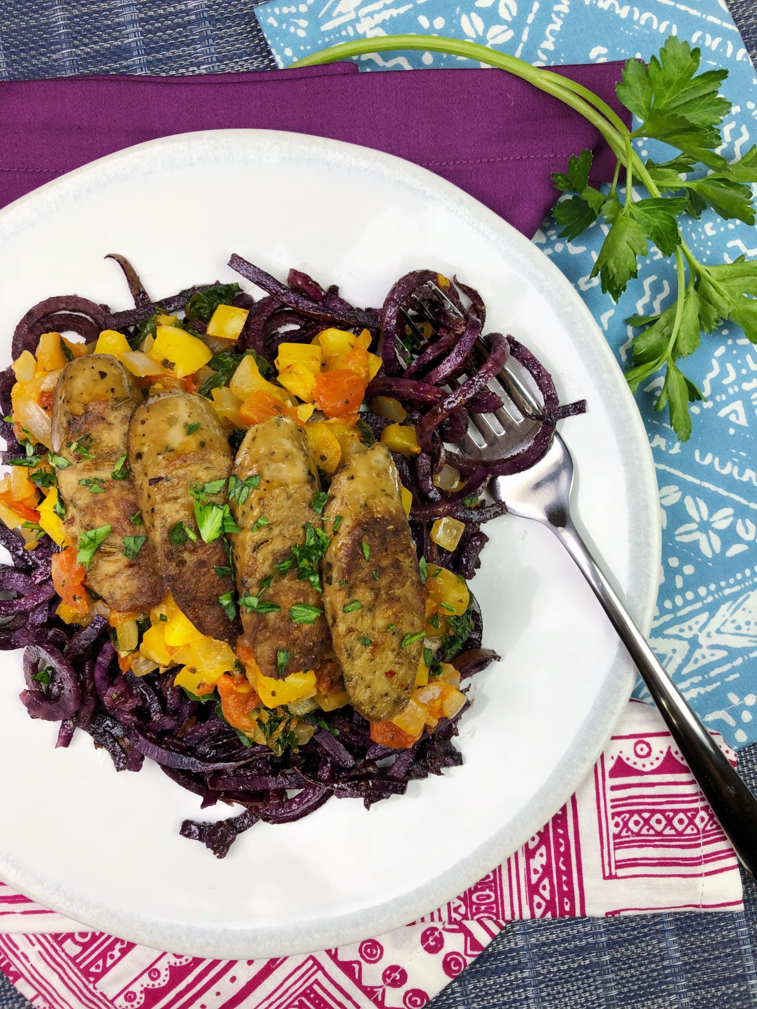 Purple Sweet Potato Pasta with Bell Pepper and Heirloom Tomato Sauce
